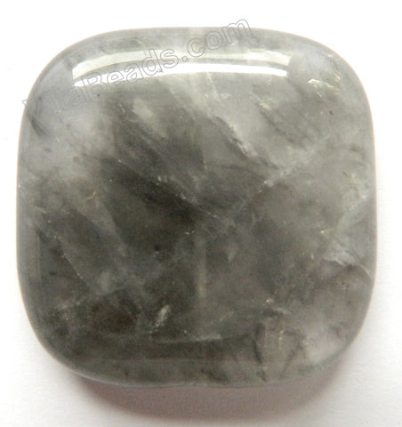 Pendant - Smooth Square Grey Quartz Dark