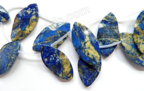 Lapis Lazuli w/ Yellow  -  Top Drilled Wave Marquise  16""