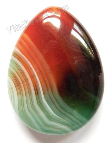 Pendant - Smooth Teardrop - Green Red Sardonix Agate