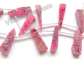 "Fuchsia Druzy Crystal  -  Top Drilled Long Drop Sticks  16""    Approximate 7 x 25 mm"