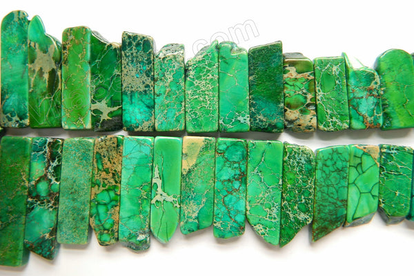 "Green Impression Jasper  -  Graduated Top-drilled Long Rectangle Slabs  16""    10 x 15 mm to 10 x 50 mm"