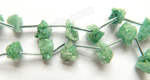 "Green Druzy Crystal  -  Top Drilled Free From Rough Chip Nuggets 16""    Approximate 8 x 14 x 10 mm"