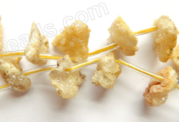"Yellow Druzy Crystal  -  Top Drilled Free From Rough Chip Nuggets  16""    Approximate 8 x 14 x 10 mm"