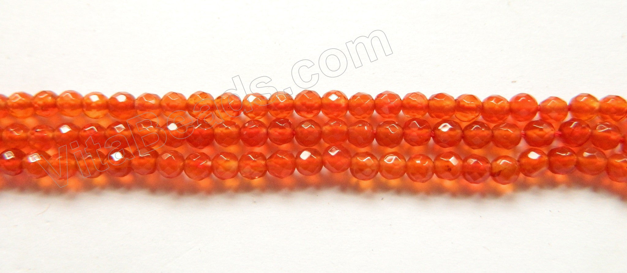 "Carnelian AA  -   Small Faceted Round  15.5""    3mm"