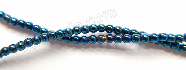 "London Blue Plated Hematite  -  Small Smooth Round  16""   3mm"