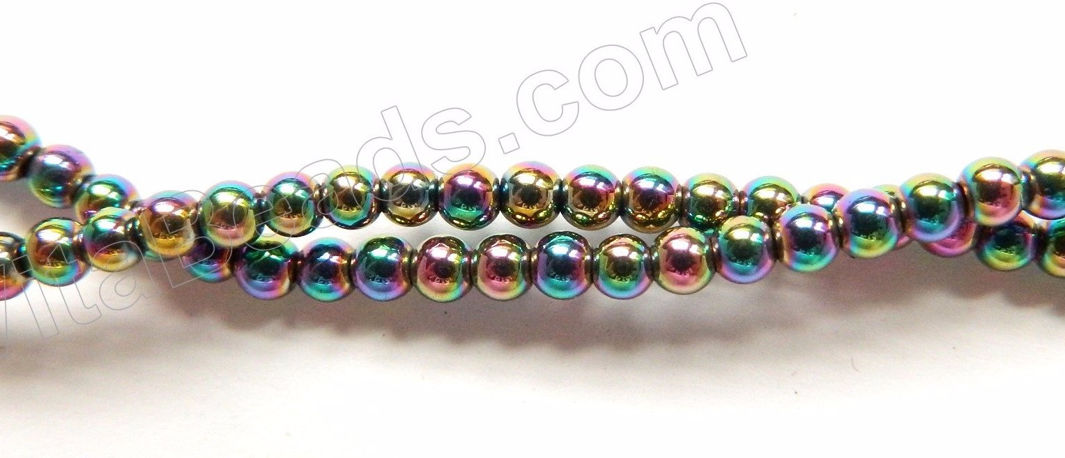 "Peacock Plated Hematite  -  Small Smooth Round  16""   3mm"