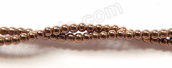 "Bronze Hematite  -  Small Smooth Round  16""   2mm"