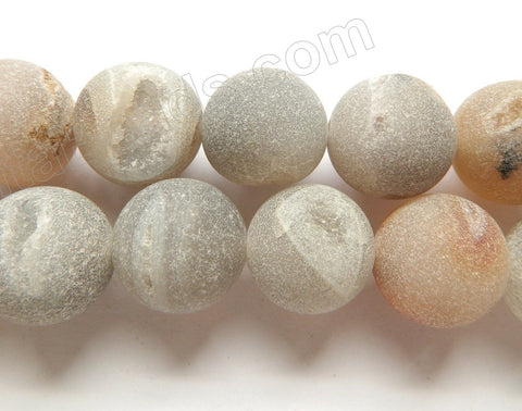 Frosted Warm Natural Agate Druzy Crystal  -  Smooth Round Beads 16""