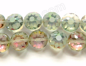 Frosted Rainbow Fluorite Crystal  -  Faceted Daisy Coin 11""
