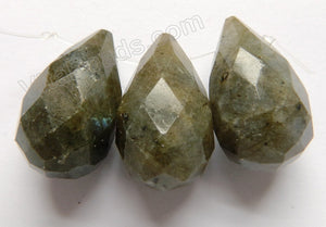 Labradorite  - 15x25mm Faceted Teardrops 3pc