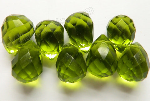 Green Crystal Quartz -  18x25mm Faceted Teardrops 8pc