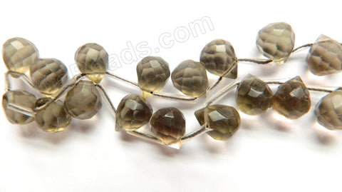 Smoky Crystal Qtz Light  -  9x11mm Faceted Teardrop  16""