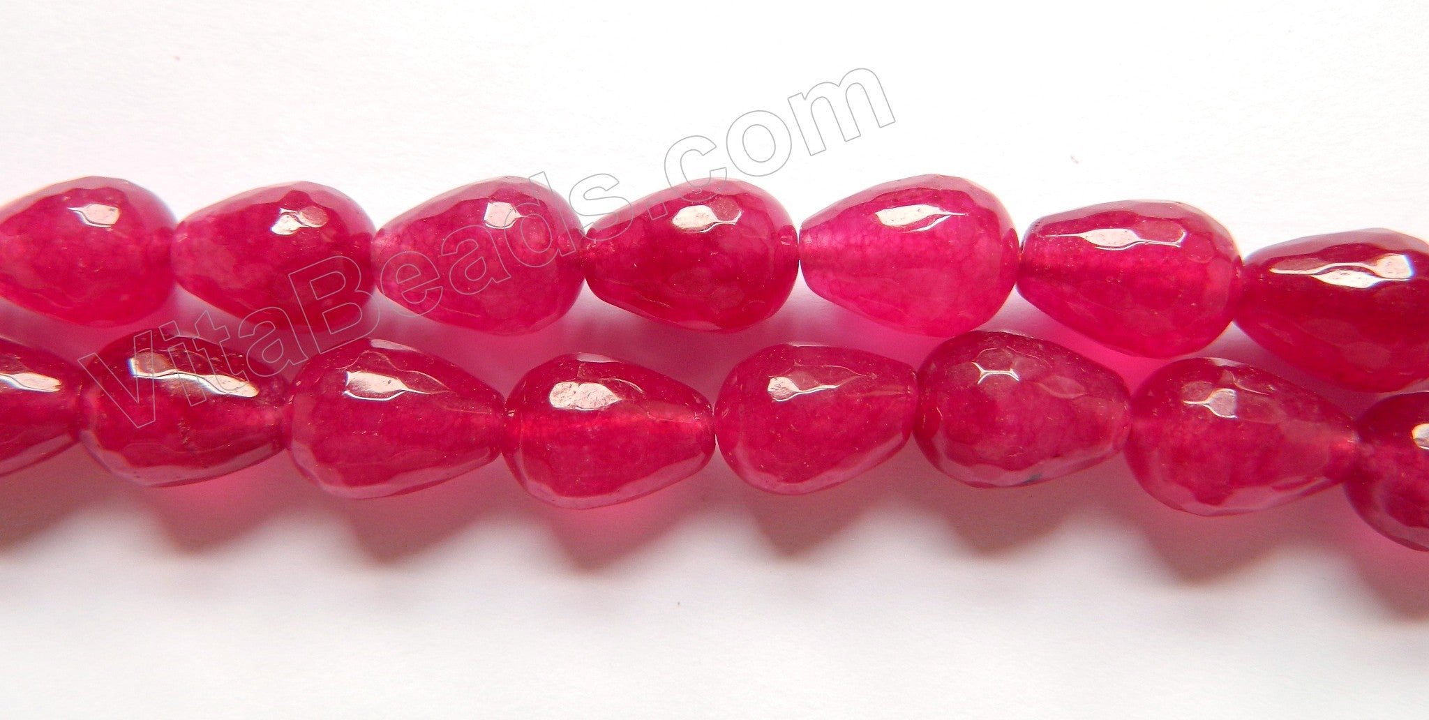 Cherry Win. Jade  -  10x14mm Faceted Drops  16""