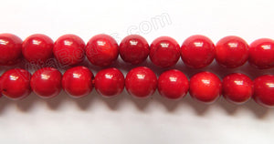 Deep Red Bamboo Coral  -  Smooth Round Beads  16""