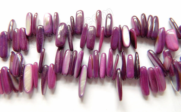 "MOP Shell  -  Dark Purple  -  Smooth Long Chips , Sticks 16""      6 x 18 mm"
