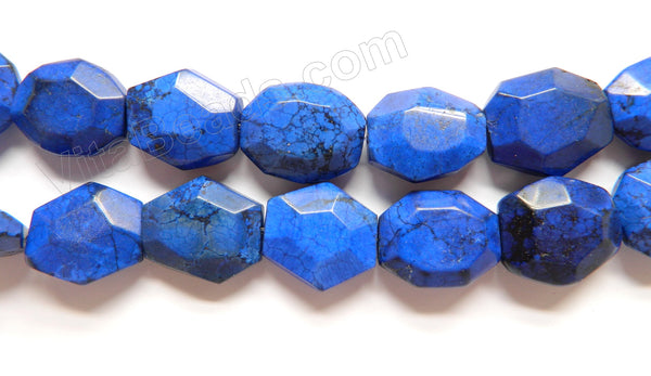 Lapis Blue Crack Turquoise  -  Faceted Coin Nuggets 16""