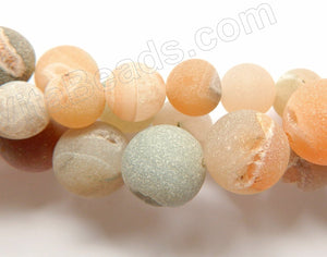 Frosted Warm Natural Agate Druzy Crystal  -  Big Smooth Round Beads 16""