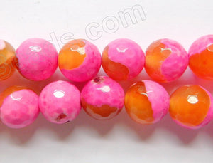 Fuchsia Orange Mixed Fire Agate  -  Faceted Round 15""
