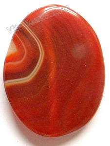 Smooth Oval Pendant - Carnelian w/ Stripes Dark