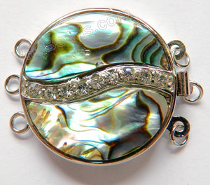 Abalone Shell Clasps - Coin w Marcasite For Triple Strand 26x35mm