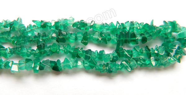 "Green Onyx (India Made)  -  Chips 36""    6 - 7 mm"