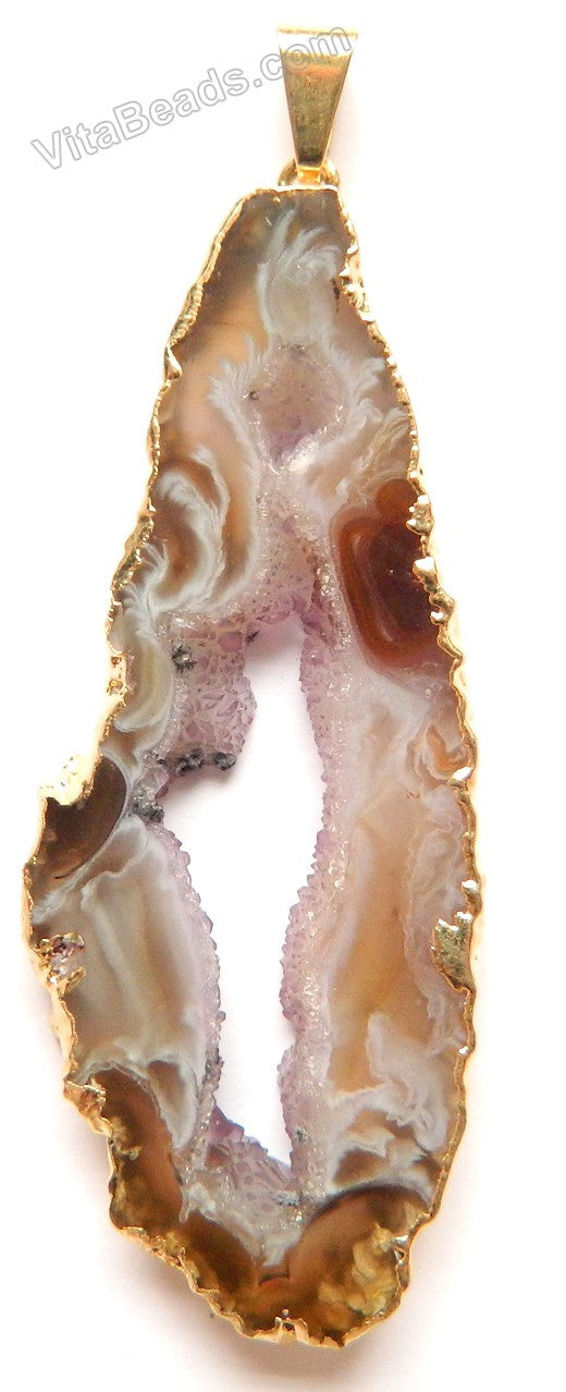 Druzy Agate Pendant - A 31 w/ Gold Edge &. Bail 30 x 48 mm