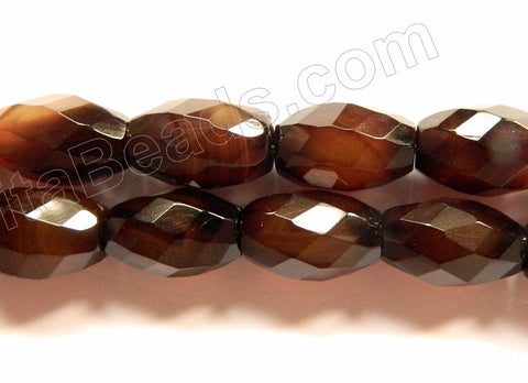 Brown Agate AAA  -  Faceted Drum  16""