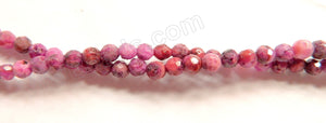 Fuchsia Brazilian Agate  -  Faceted Round Beads  16""