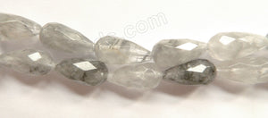 Grey Quartz A  -  10x20mm Faceted Drops  16""