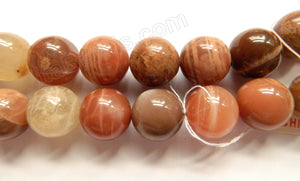 Mixed Red Moonstone AAA  -  Big Smooth Round Beads  16""