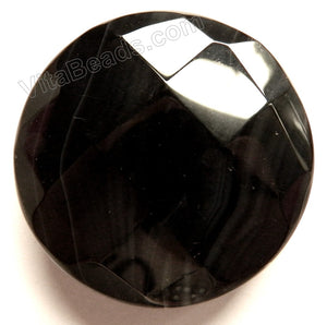 Thick Faceted Round Pendant - Black Onyx