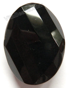 Black Onyx - Twist Faceted Oval Pendant