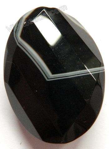 Black Sardonix Agate - Twist Faceted Oval Pendant