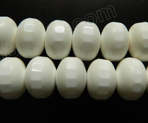 "White Jasper  -  Fine Cut Rondel, faceted rondel  16""    14 x 10 mm"