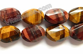 Mixed Red Yellow Tiger Eye A  -  Twist Faceted Oval  16""
