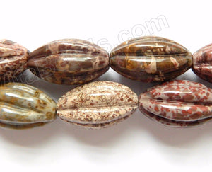 Turtle Jasper  -  Carved Melon Beads  16""
