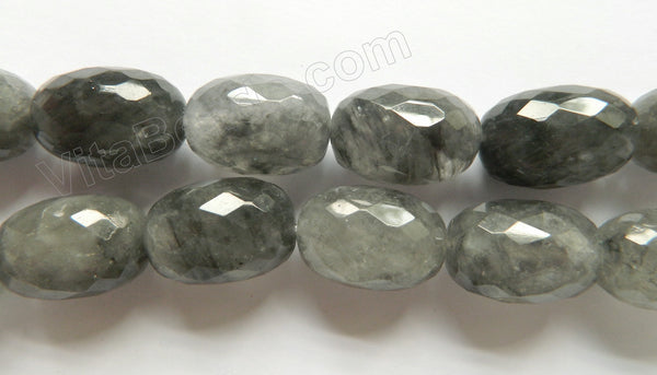 "Grey Quartz AAA  -  Big Faceted Nuggets, Faceted Eggs  16""    18 x 26 mm"
