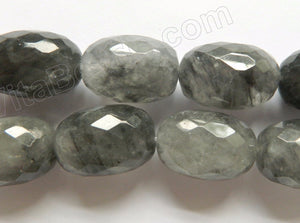 Grey Quartz AAA  -  Big Faceted Eggs  16""