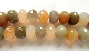"Natural Warm Agate A  -  Big Faceted Rondel  16""    18 x 13 mm"