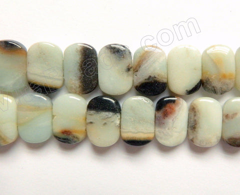 Golden Black Amazonite  -  Double Drilled Puff Rectangles  16""