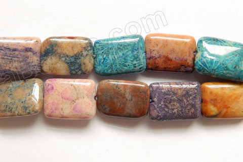 Mixed Color Fossil Coral  -  Puff Rectangles  16""