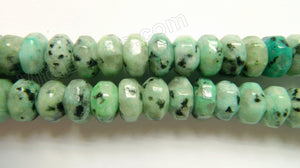 "Green Kiwi Stone  -  Big Faceted Rondel  16""    8 x 13 mm"