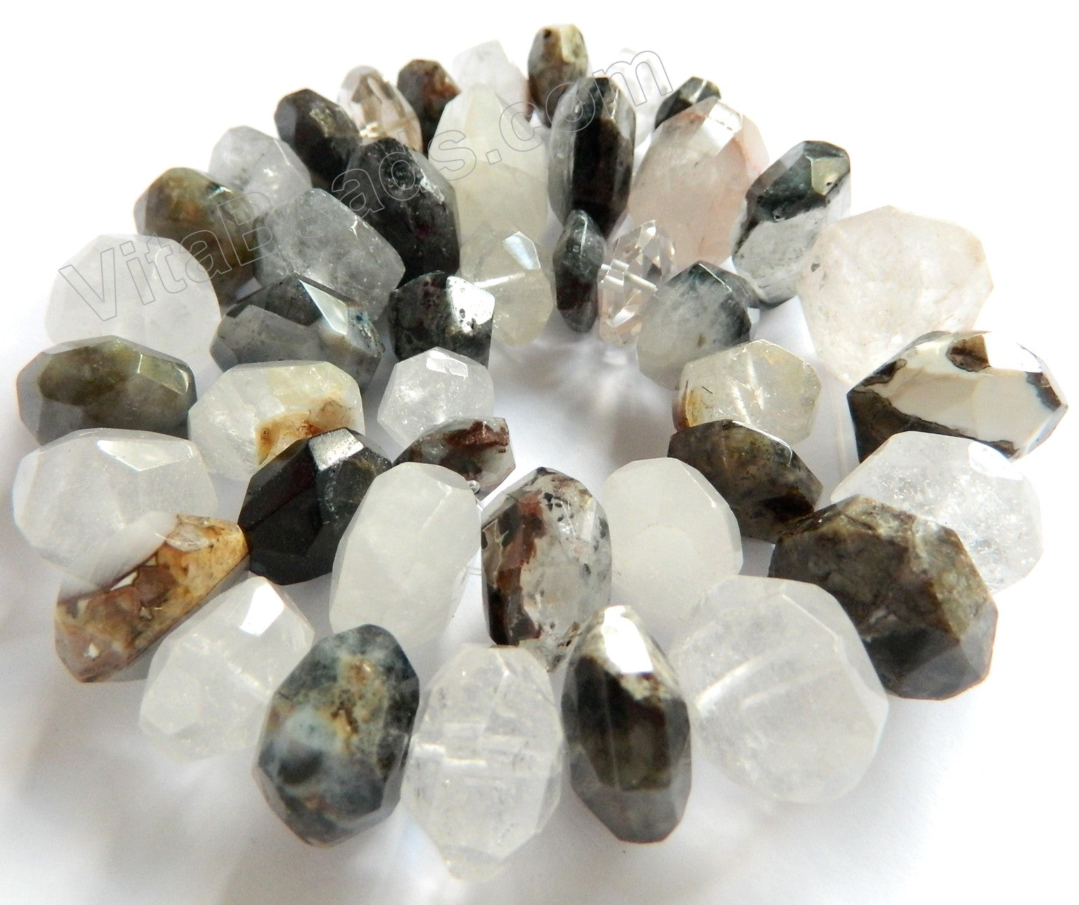 Mixed Natural Opalite and White Quartz   Graduated Machine Cut Rondels  16""