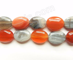 Botswana Agate (Grey w/ Red)  -  Puff Ovals  16""