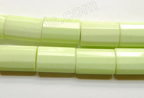 Lemon Chrysophase AAA   -  Faceted Puff Thin Tubes  16""