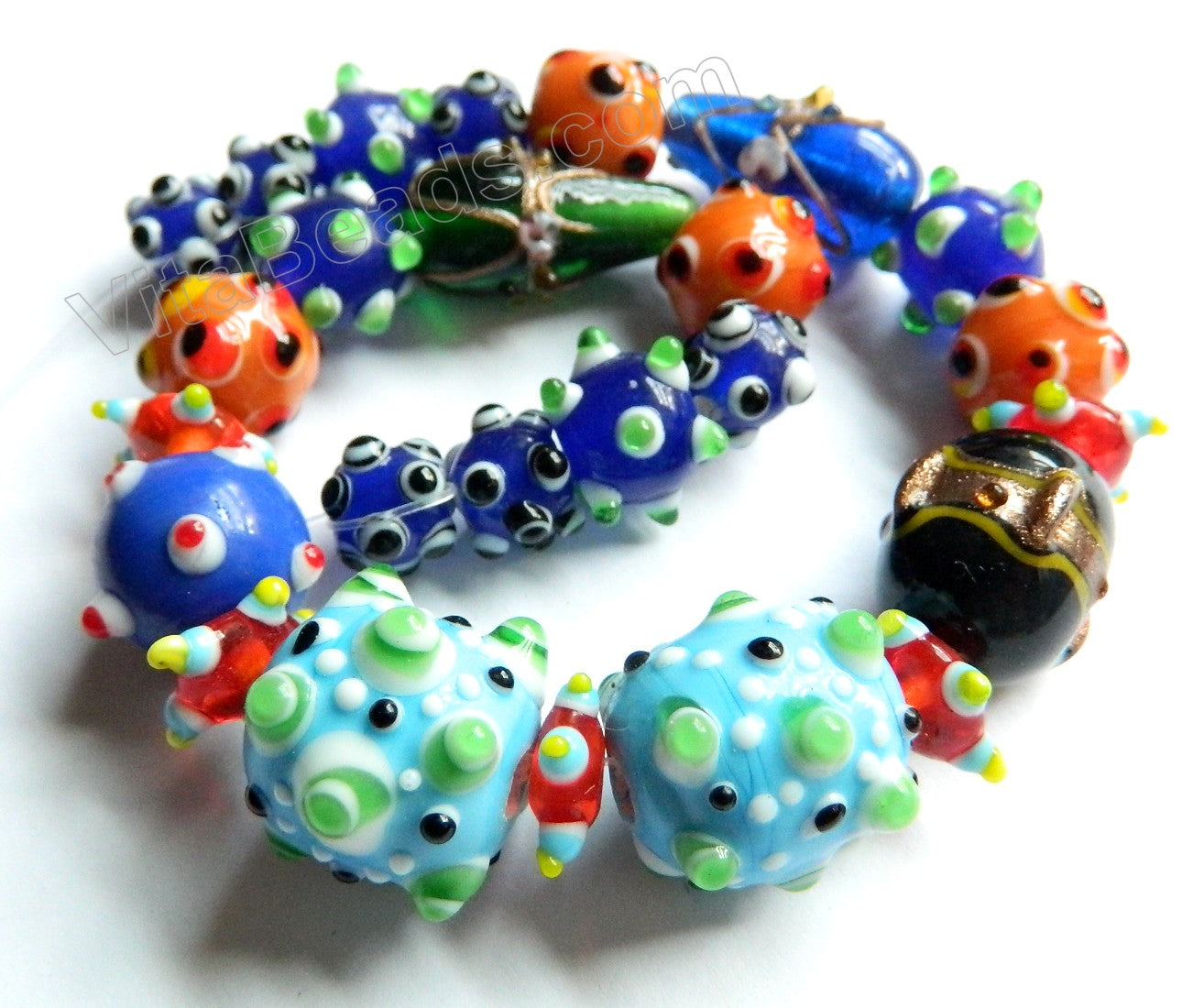 Mixed Lamp Work Beads Caterpillar Strand  12""