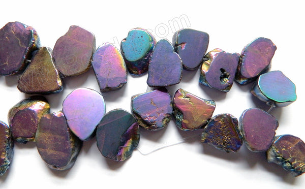 Blue Purple Peacock Crystal Natural  -  Graduated Top Drilled Irregular Slabs  16""