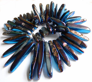 "Smooth Blue Peacock Crystal Natural  -  Graduated Big Tooth Top Drilled 16""    20 - 60 mm"