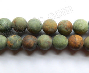 Frosted Green Opal  -  Smooth Round Beads 15""