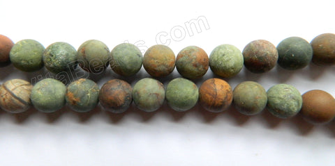Frosted Green Opal  -  Smooth Round Beads 16""